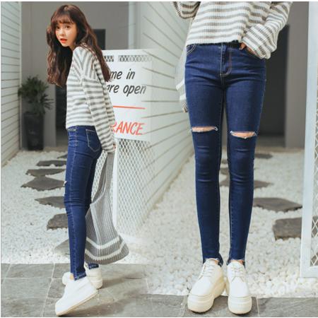 2016冬季韩版学生牛仔裤女破洞弹力小脚裤显瘦铅笔裤女