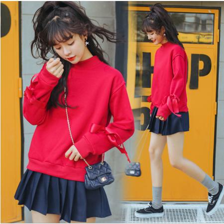 2016冬季韩版纯色加绒加厚宽松保暖蝴蝶结丝带学生卫衣