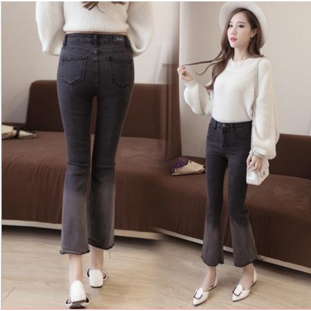 2016新款韩版高弹微喇磨白牛仔长裤九分裤
