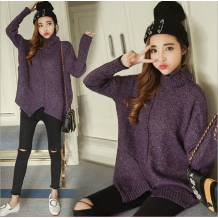 2016高领毛衣女 秋冬季新款长袖针织衫不规则边女装上衣