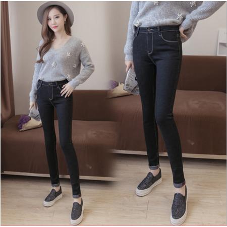 2016新款修身显瘦翻脚边牛仔长裤女裤铅笔裤