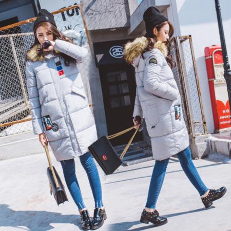 2016新款东大门街拍棉服女时尚修身徽章中长款外套女冬