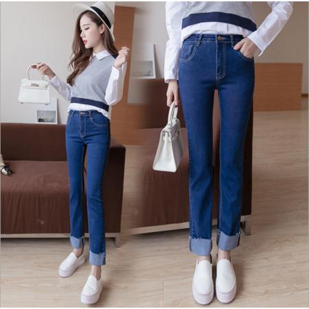 2016冬季新款两色弹力牛仔裤女bf风直筒翻边长裤