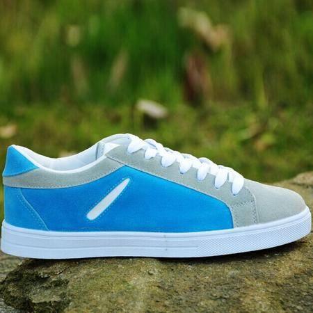 Mr.benyou正品2014新款粗鞋带低帮鞋男鞋子透气设计纯色休闲板鞋蓝色H115-a32