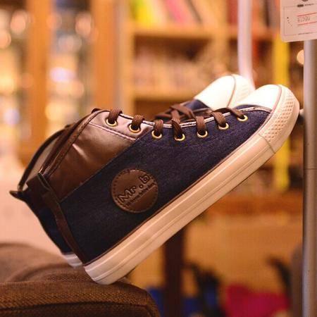Mr.benyou 正品2014男鞋休闲鞋透气帆布鞋潮鞋韩版高帮鞋韩版修脚H408-D132