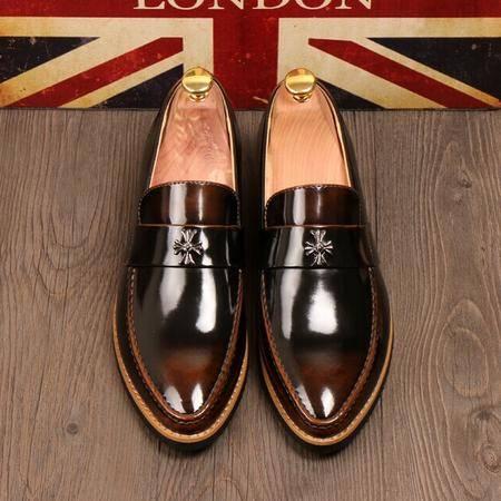 Mr.benyou 正品2014新元素顶级牛皮手工擦色潮流套脚复古皮鞋H209-8661