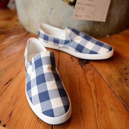 Mr.benyou 正品朋克风 春夏新款热卖轻薄软底韩国格纹设计一脚蹬帆布鞋单鞋H408-D133