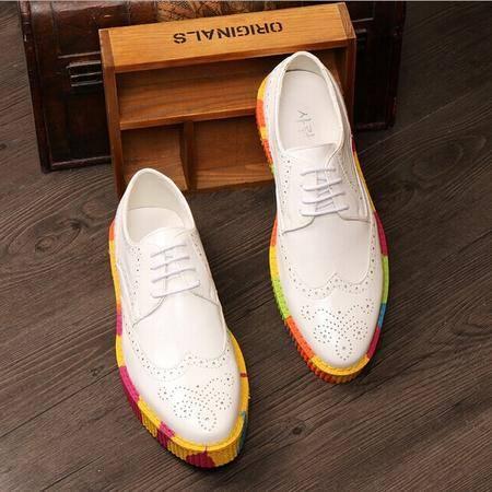 Mr.benyou 正品英伦潮流男式时尚雕花布洛克彩虹迷彩厚鞋H209-8780