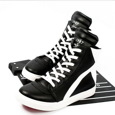 Mr.benyou 正品2014欧美风格潮流靴运动男板鞋拼接黑白高帮短靴H209-186