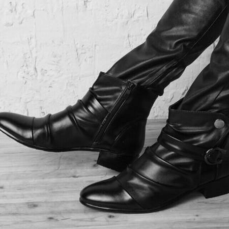 Mr.benyou 正品2014热卖时尚搭扣潮款 短筒英伦潮靴男士靴子H209-135