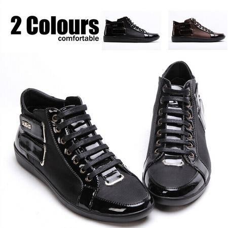 Mr.benyou 正品秋冬新款魔术贴设计拼接元素男士高帮鞋短靴H308-G15