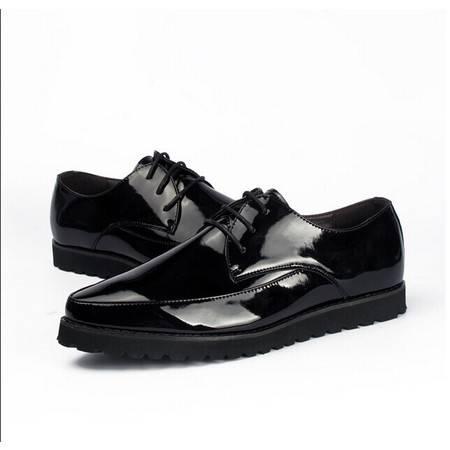 Mr.benyou正品2014布洛克鞋漆光尖头系带厚底男士时尚潮鞋H209-2261