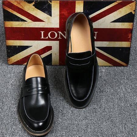 Mr.benyou 正品简约圆头套脚低帮布洛克男鞋真皮透气拼色坡跟潮鞋H209-2861