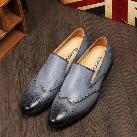 Mr.benyou 正品夏季单鞋真皮纯色透气英伦潮鞋布洛克懒人套脚鞋H209-2818