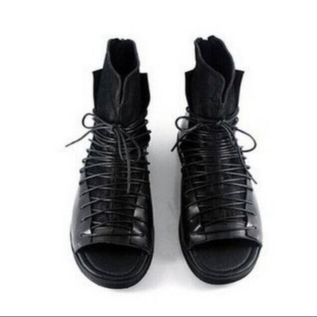 Mr.benyou2014正品欧美大牌走秀夜店风个性系带高帮罗马鞋凉靴厚底增高潮鞋H468-LM99