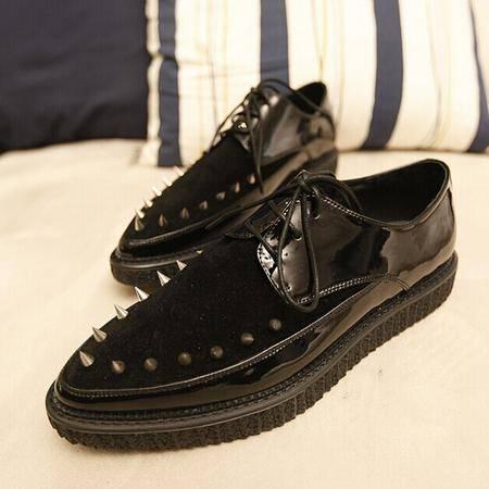 Mr.benyou 2014正品新款时尚潮流亚历山大尖头牛皮钢钉低帮增高潮板鞋鞋 H817-X299