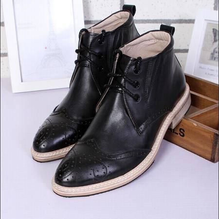 Mr.benyou 2014正品新款时尚高帮时尚布洛克高帮纯色日常休闲靴鞋Q901-8037
