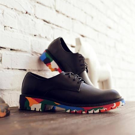 Mr.benyou正品2014春款上新英伦纯色时尚迷彩布洛克欧美男鞋QA017-760