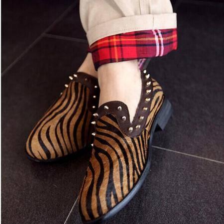 Mr.benyou 2014正品新款时尚铆钉修饰独特的风格休闲格子坡跟男士鞋豹纹拼Q901-8013