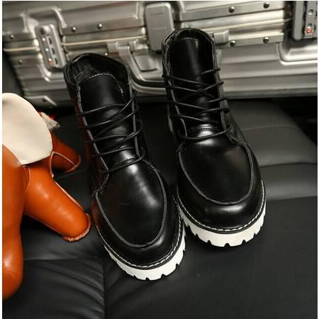 Mr.benyou 2014正品时尚欧美高帮鞋韩版英伦板鞋带毛新款纯色圆男靴H508-XW76