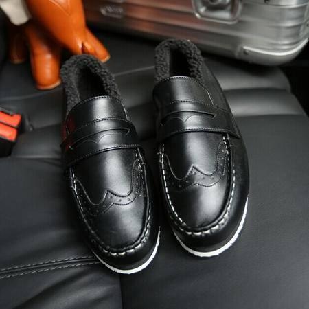 Mr.benyou 2014正品新款时尚男冬季保暖鞋潮流英伦雕花纯色平跟新款男鞋H508-XW02