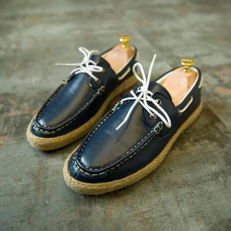 Mr.benyou 2014正品新款时尚春夏人气款草编套脚圆头棉透气帆船鞋H817-X371