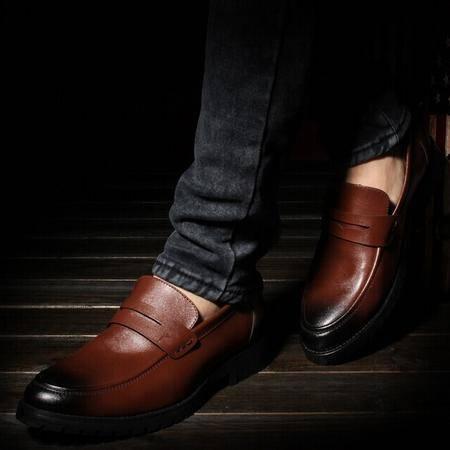 Mr.benyou 2014正品钱塘男士真皮皮鞋韩版复古擦色套脚休闲男鞋Q1011-33102
