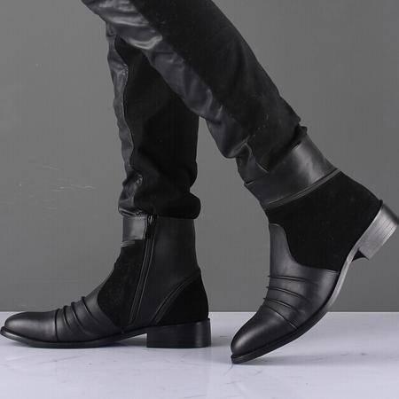 Mr.benyou 2014正品新款时尚欧维潮流黑色工装靴时尚男靴Q1011-218-6