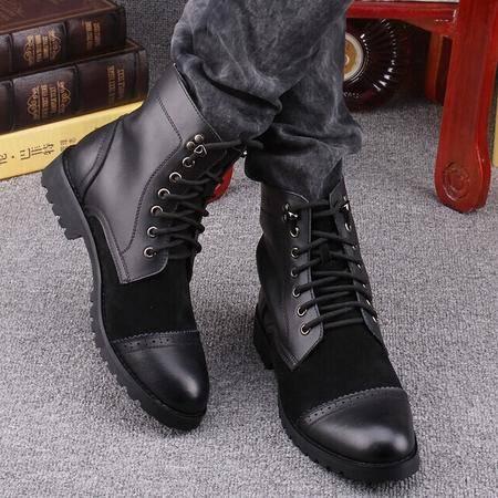 Mr.benyou2014正品钱塘潮流真皮工装靴韩版短靴英伦军靴马丁靴Q1011-917