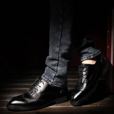 Mr.benyou 2014正品钱塘透气布洛克鞋雕花流苏黑色皮鞋英伦潮鞋Q1011-3187