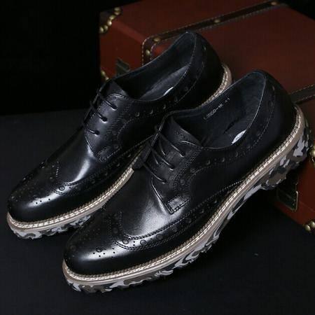 Mr.benyou正品男士皮鞋英伦风复古流行14新款系带商务雕花真皮布洛克男鞋Q1103A-C19