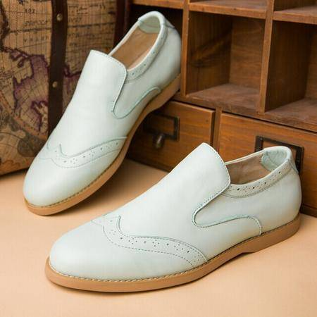 Mr.benyou正2014新款时尚爆款一脚套头层牛皮小清新低帮圆头套脚潮鞋Q1316-6068