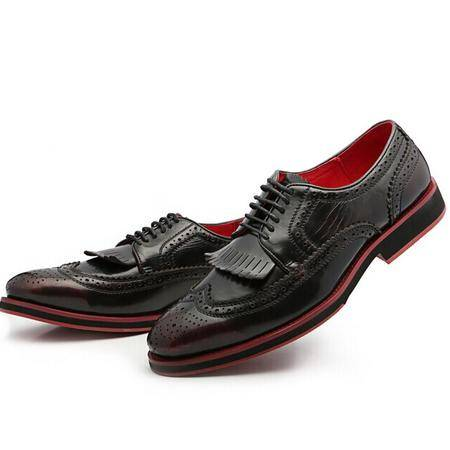 Mr.benyou2014正品英伦布洛克流苏真皮系带男鞋子时尚大牌复古擦色潮鞋男Q1103-CL07