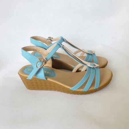 Mr.benyou正品2014夏季新款女凉鞋 波西米亚风时尚女鞋兰色QA051-6066