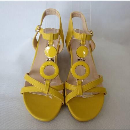 Mr.benyou正品2014夏季新款时尚坡跟女凉鞋 甜美淑女凉鞋黄色QA051-6007