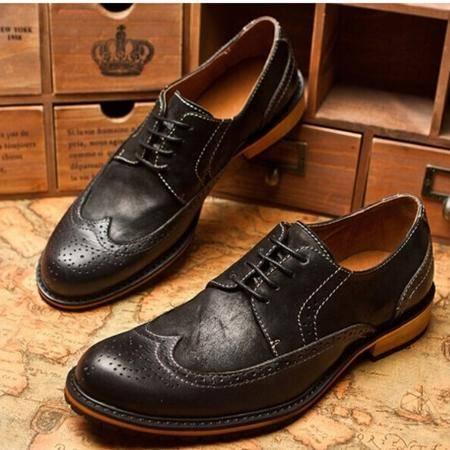 Mr.benyou 2014正品新款时尚个性圆头系带布洛克头层牛皮鞋Q1316-907-2