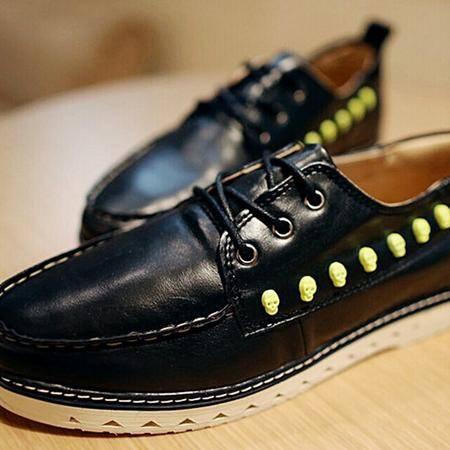 Mr.benyou正品秋冬荧光骷髅头铆钉韩版男士布洛克鞋低帮鞋子H1502-XDQ943