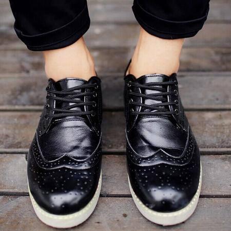 Mr.benyou正品 百搭花雕镂空韩版系带低帮鞋休闲皮鞋情侣鞋H1502-X09