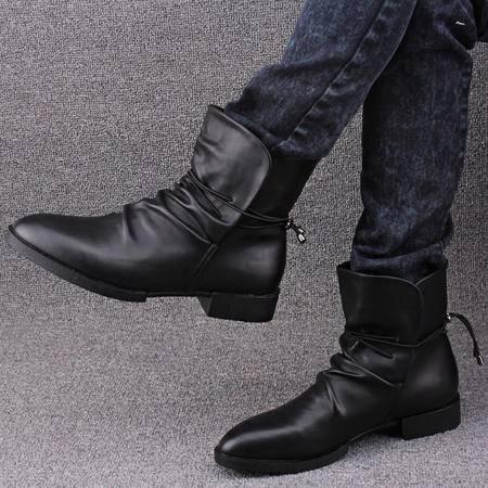 Mr.benyou秋冬新款英伦马丁靴真皮尖头男靴潮流高帮鞋男韩版短靴