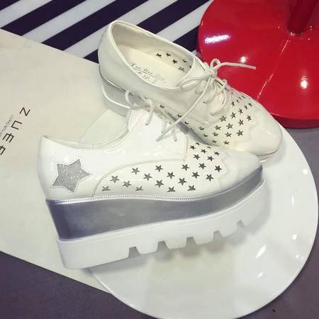 Mr.benyou2015春夏新款大牌同款厚底系带单鞋镂空坡跟鞋女xggQ11-5