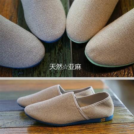 MR.BENYOU2015夏季新款纯色包边简约亚麻套脚鞋休闲鞋超轻男士Q