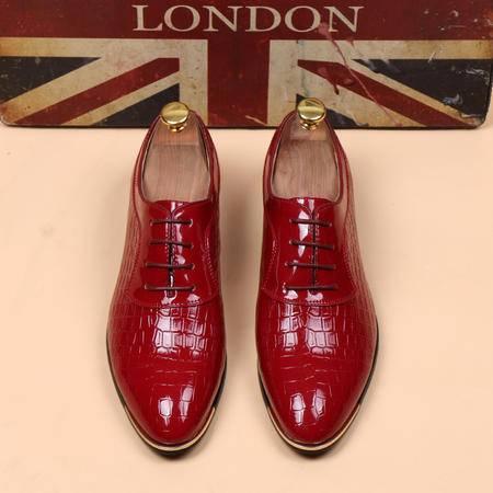MR.BENYOU2015夏季新款韩国都市男鞋 蛇纹印花款时尚系带尖头皮鞋Q