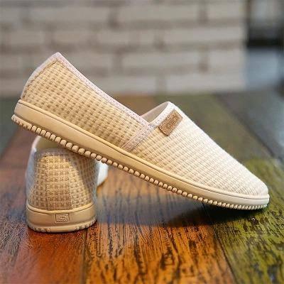 Mr.benyou2015夏季新款格子撞色包边棉麻休闲鞋 透气男士板鞋X020P90  M