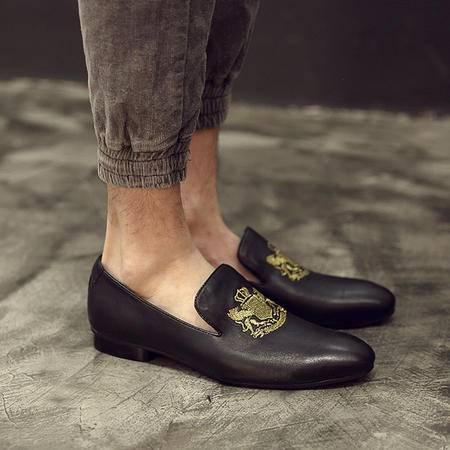 MR.BENYOU2015夏季新款韩国新款乐福鞋 英伦风绅士小羊皮套脚乐福鞋刺绣Q