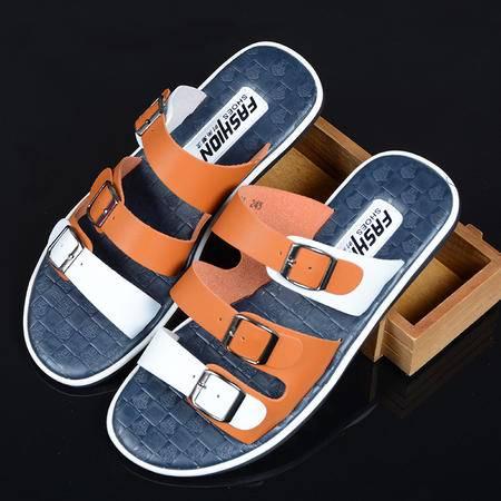 MR.BENYOU2015夏季新款潮流透气防滑男凉鞋 英伦风沙滩鞋 韩版青年男一字拖 L