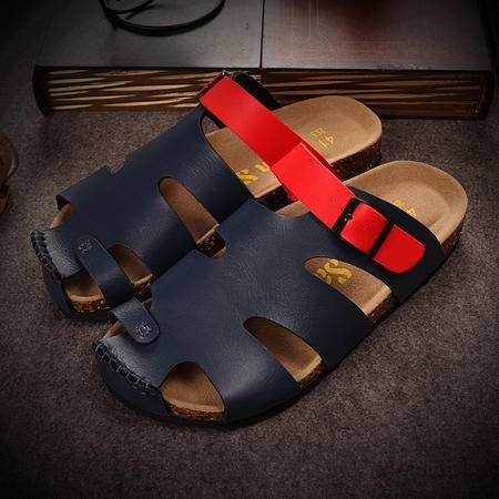 Mr.benyou2015夏季新款男博肯软木拖鞋居家旅游开车沙滩防滑厚底拖鞋包头鞋Z