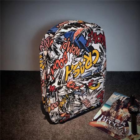 Mr.benyou2015夏季箱包新款潮英文字母涂鸦双肩包学生书包帆布包死飞原宿背包Q