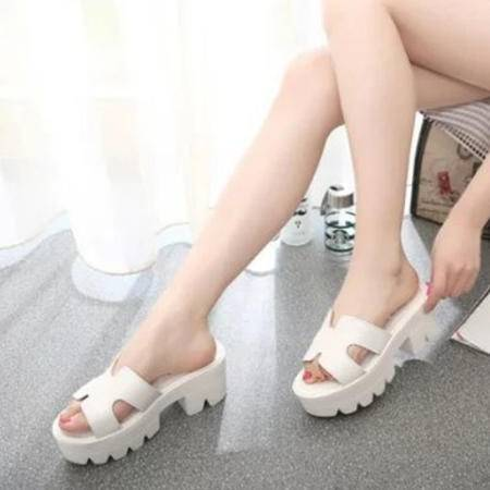 Mr.benyou2015夏季新款欧美风粗跟平底高跟时尚女凉鞋一字拖防水台休闲拖鞋 Z