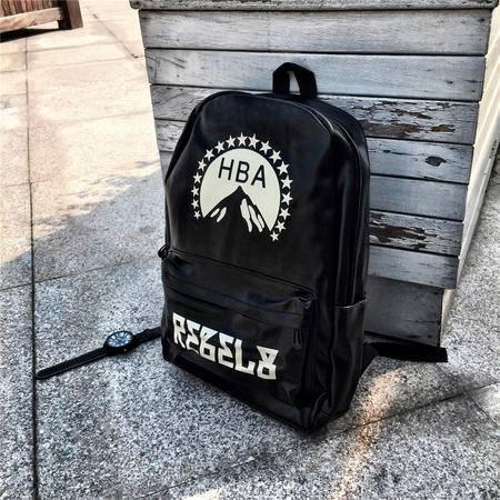 Mr.benyou2015夏季箱包新款男女款潮人HBA印花黑色学生书包机车欧美背包双肩包Q