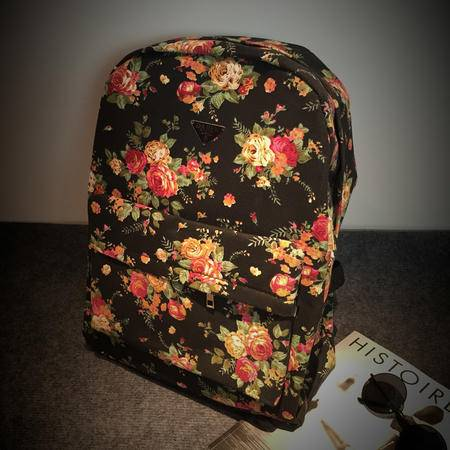 Mr.benyou2015夏季箱包新款潮人小红花花朵学生书包帆布包时尚双肩包男女背包Q